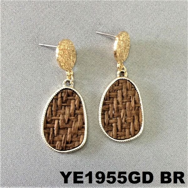 Bohemian Style Brown Oval Burlap Material Charm Gold Finish Post Stud Earrings
