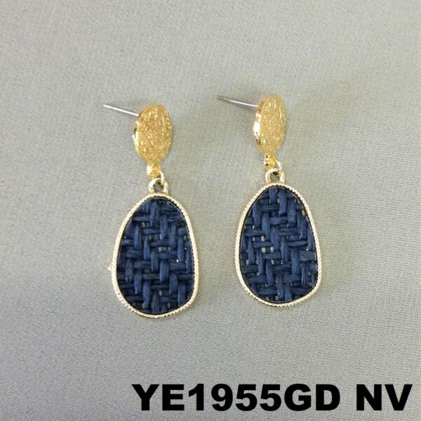 Bohemian Style Navy Oval Burlap Material Charm Gold Finish Post Stud Earrings