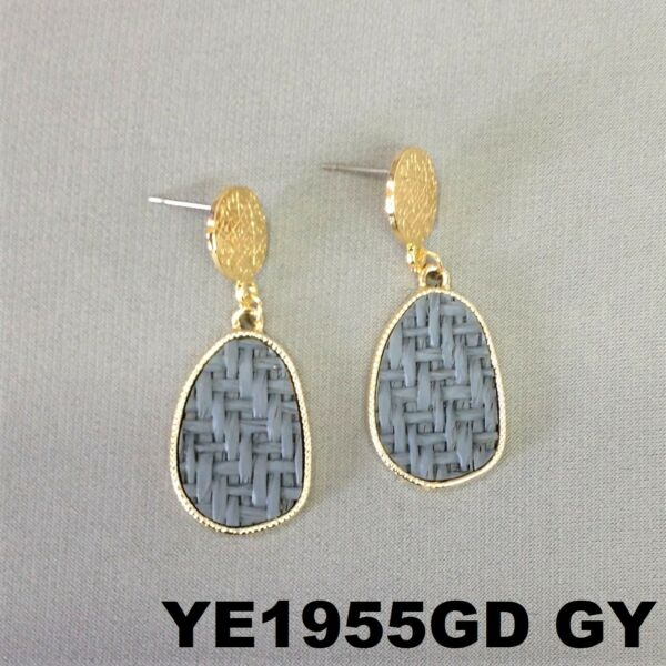 Bohemian Style Grey Oval Burlap Material Charm Gold Finish Post Stud Earrings