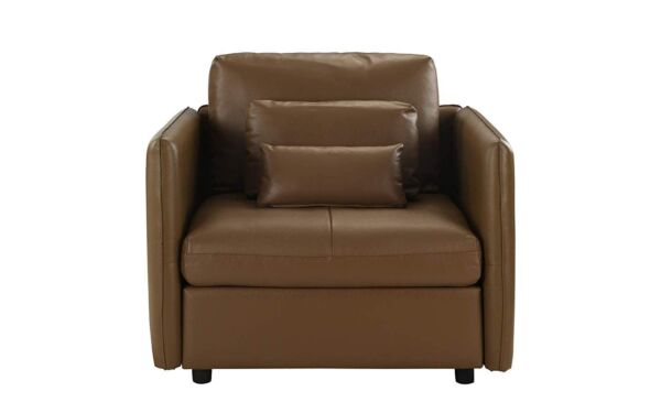Accent Chair for Bedroom Faux Leather Armchair Small Chair Light Brown Leather
