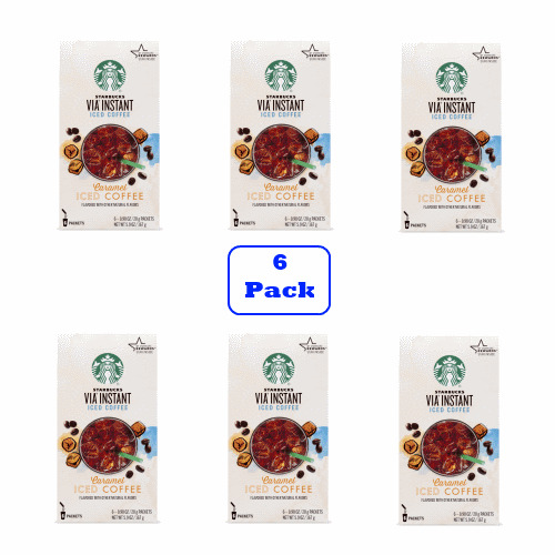 Starbucks VIA Instant Caramel Iced Coffee (6 boxes of 6 packets)