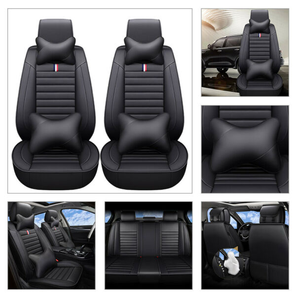 5 Seats Car SUV Seat Cover Front Rear Cushion Universal Deluxe PU Leather Pillow $70.39