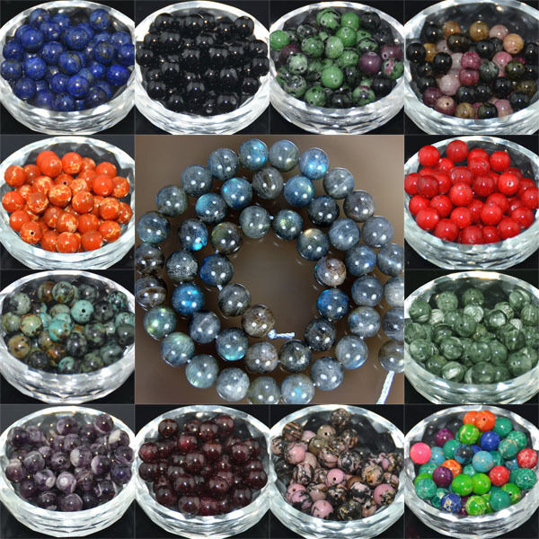 Wholesale Real Natural Stone Gemstone Round Spacer Loose Beads 46810mm 15.5''