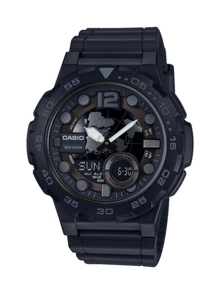 Casio Men's Quartz Analog-Digital Black Resin Band 47mm Watch AEQ100W-1BV