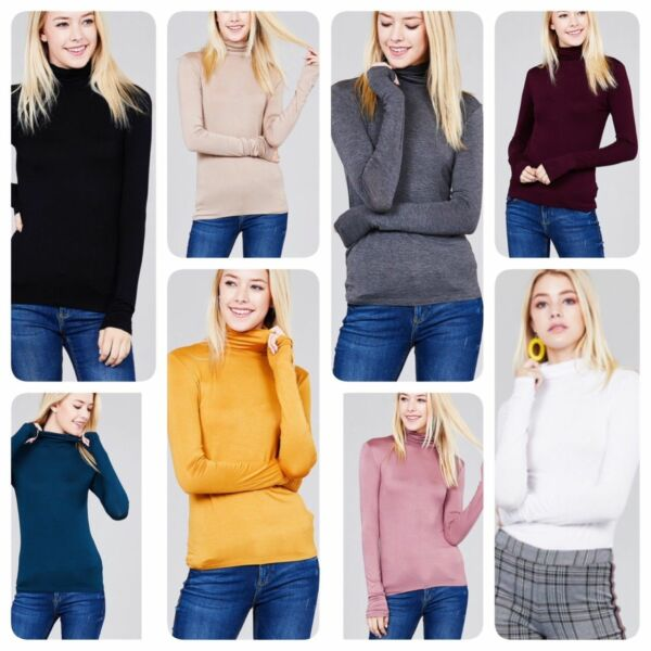 Women's Long Sleeve TURTLE NECK MOCK NECK Top Soft Stretchy Rayon Spandex $9.95