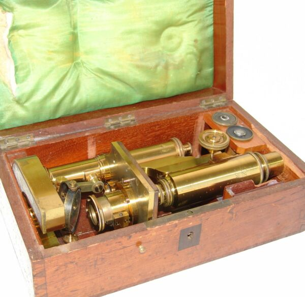 VINTAGE DR. E. HARTNACK POTSDAM HIGH GRADE MICROSCOPE WITH WOODEN BOX c1870