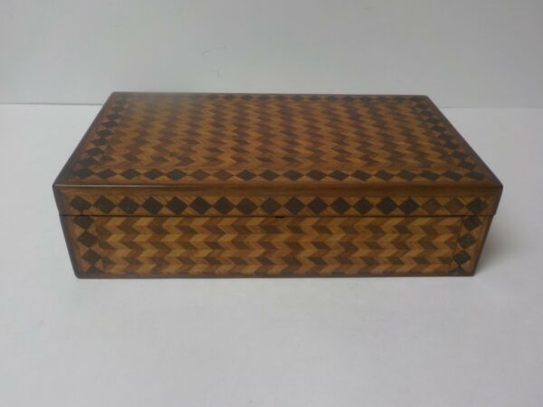 19th C. French Inlaid Wood Box Diamond & Chevron Design