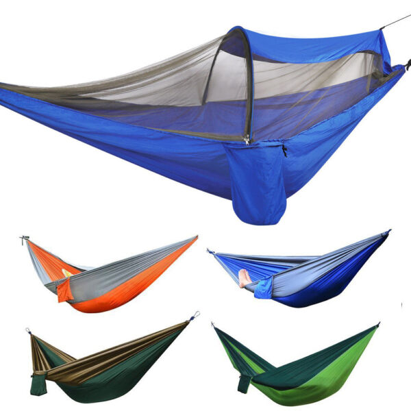 Double Person Camping Nylon Fabric Parachute Hammock Sleeping Swing Outdoor $14.99