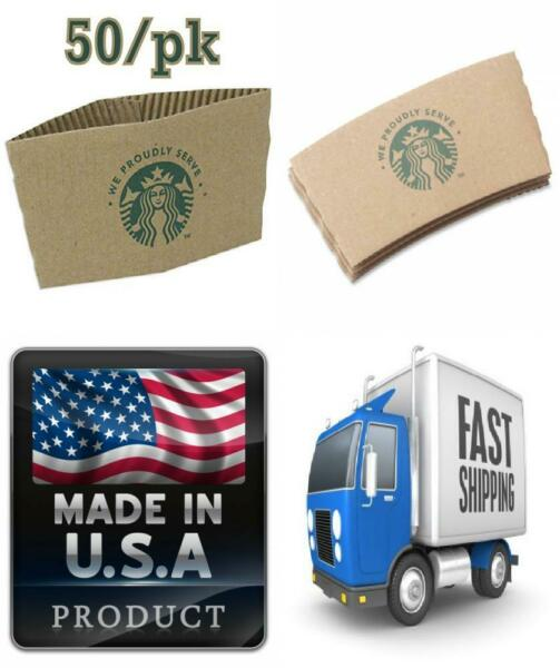 Starbucks Coffee Cup Sleeves 50 Jackets for Hot Cups Fits 12 16 and 20...