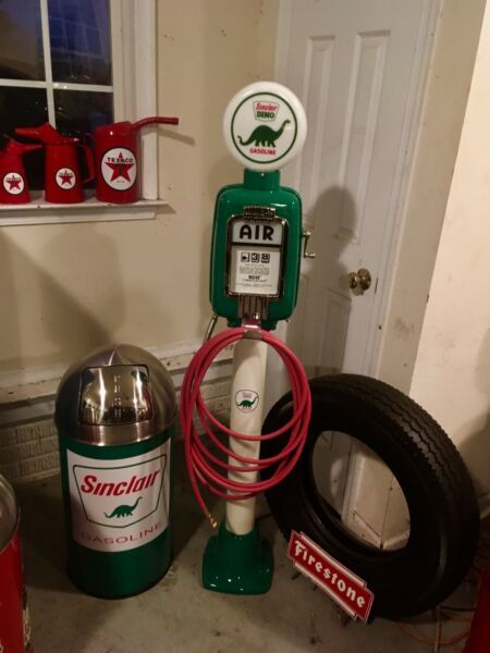 Vintage Eco Air Meter Gas Oil Sinclair With Sinclair Trash Can Restored Nice!!