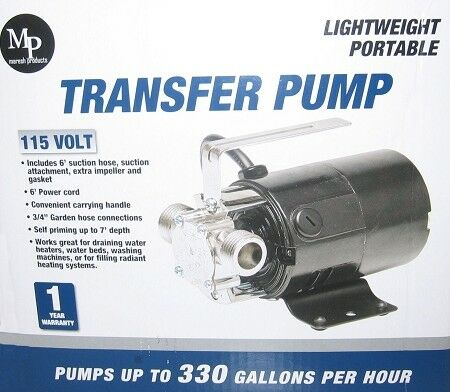Portable Water Transfer Utility Pump 330 GPH 115-Volt with Hose