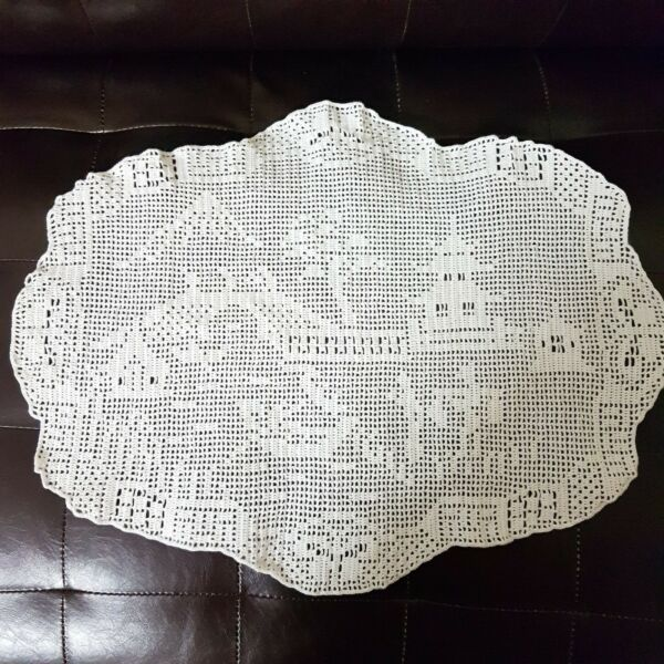 Table Crochet Doily Vintage Lace Antique MARY CARD Design Filet Hand Willow Lge
