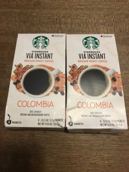 Lot Of 60 Starbucks Via Columbia Roast Instant Coffee Packets exp June 2019