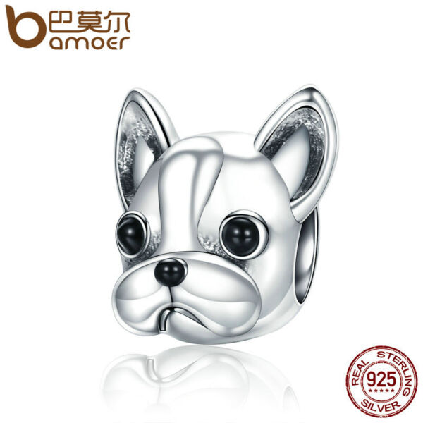 BAMOER Solid 100% Sterling silver Charm Cute Dog Fit bracelet Necklace Chain $5.97