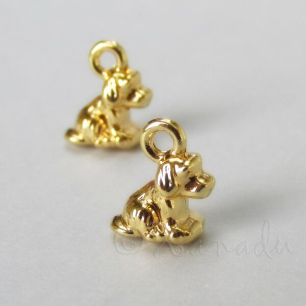 Puppy Dog Charms 11mm Small Gold Plated Pendants C3070 5 10 Or 20PCs $2.50