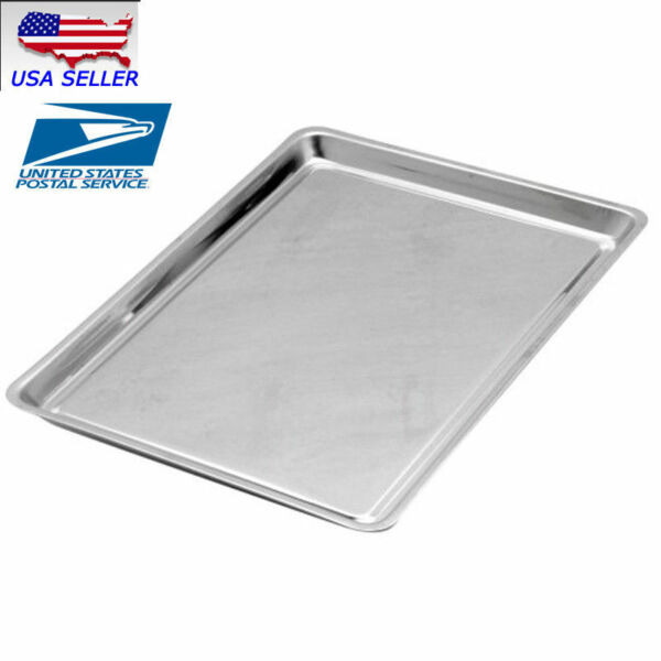 15''x 10''Stainless Steel BBQ Tools Food Container Tray Rectangular Plate Grill