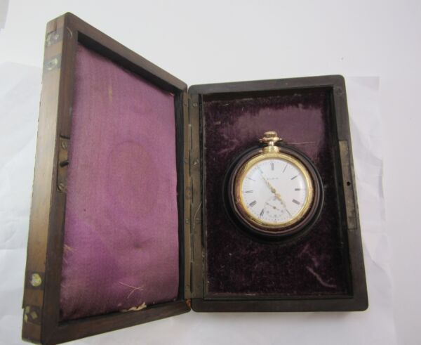 MEN'S VINTAGE 18K YELLOW GOLD ELGIN POCKET WATCH IN BOX *RECENTLY SERVICED*
