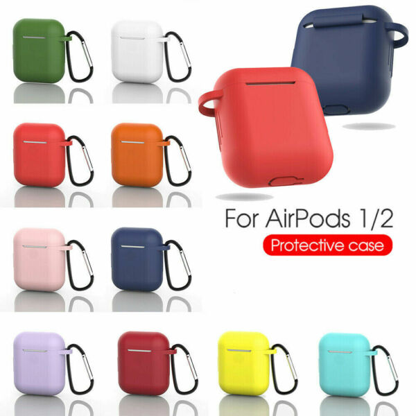 AirPods Silicone Case Protective Cover KeyChain for Apple AirPod Charging 2