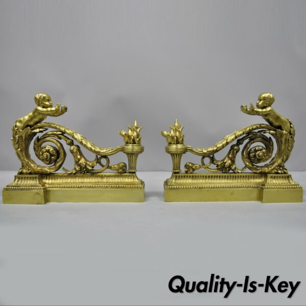 Antique Pair of Bronze French Louis XV Cherub Angel Chenets Fireplace Andirons