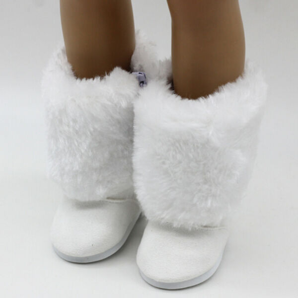 18Inch Dolls White Fur Snow Boots Shoes Doll Accessory Gift BLBD
