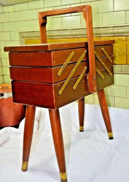 Vintage AS Strommen Bruk Hamar Accordion Style Wooden Sewing Box Wood Fold Out !