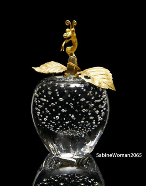 NEW in BOX STEUBEN glass BUBBLED APPLE 18K GOLD ORNAMENTAL Houston paperweight !