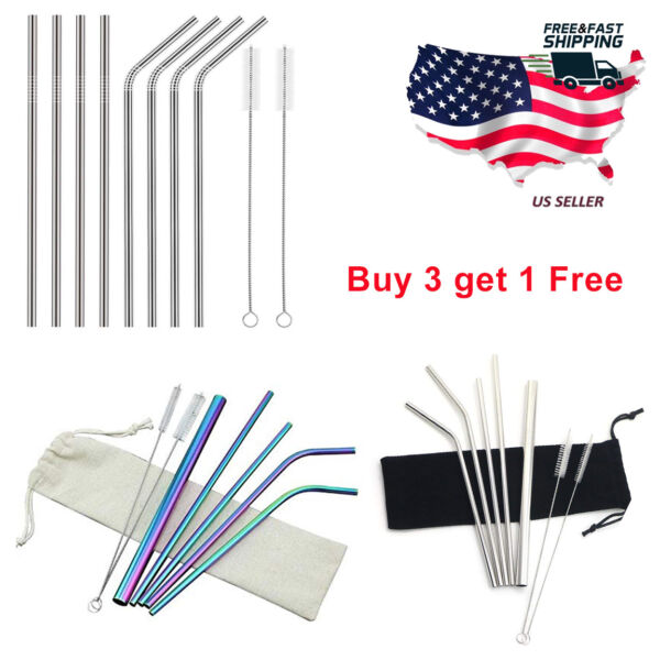 478 Pcs Stainless Steel Drinking Straws Metal Reusable Straw for Yeti Tumbler