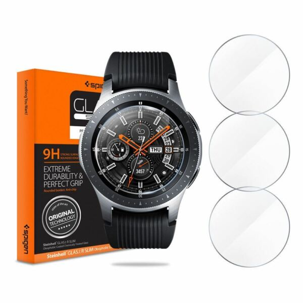 Galaxy Watch 42 46mm Gear S3 Spigen GlastR TEMPERED GLASS Screen Protector 3PACK