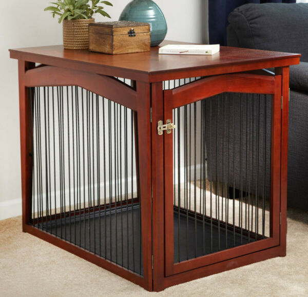 Dog Gate Crate End Table Pet Furniture 2 in 1 With Bottom Tray Boundary Medium