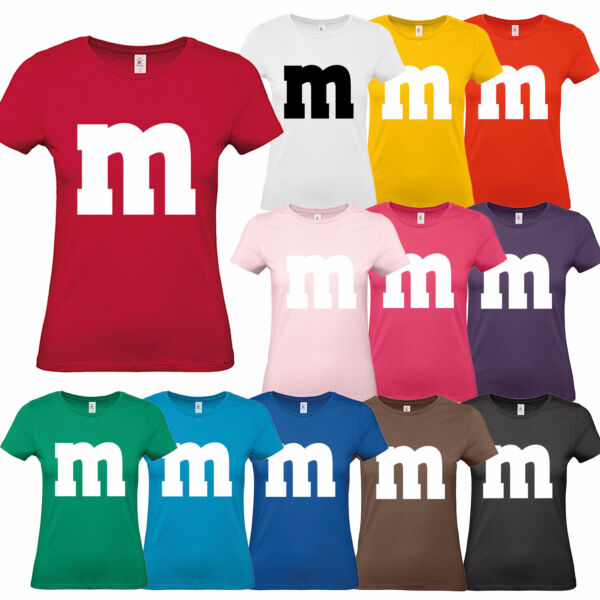 M&M Damen T-Shirt Gruppen Kostüm Karneval Fasching Verkleidung Party Fans