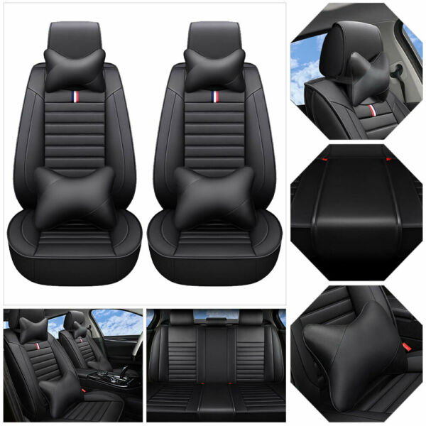 US 5-Seats PU Leather Car Seat Cover Universal SUV Front+Rear Cushion Set Black $83.65
