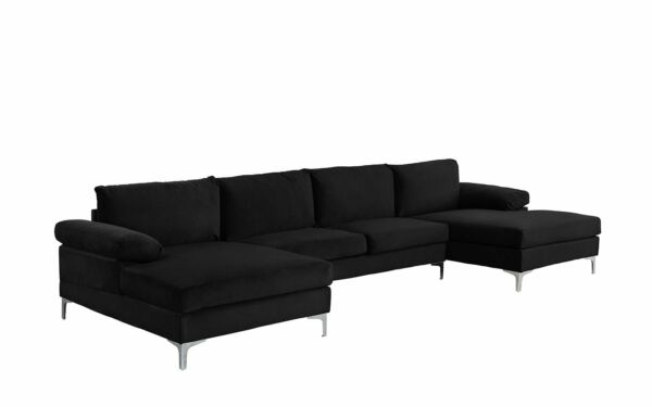 Black Large Velvet Fabric U Shape Sectional Sofa Double Extra Wide Chaise Lounge $699.99