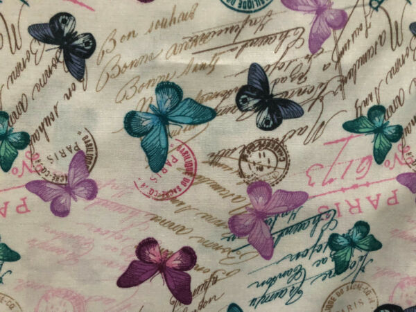 VINTAGE FRENCH BUTTERFLYS POST MARKS CREAM BUTTERFLY COTTON FABRIC FQ