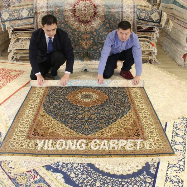 Yilong 5'x7' Blue Hand Craft Silk Rugs Hand Knotted Area Carpet Living room 1118