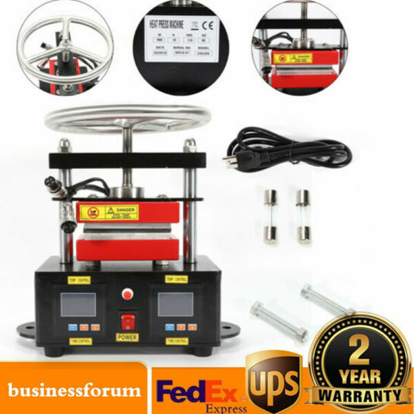 900W Pro. Hand Rosin Press Machine Crank Duel Heated Plates 2.4