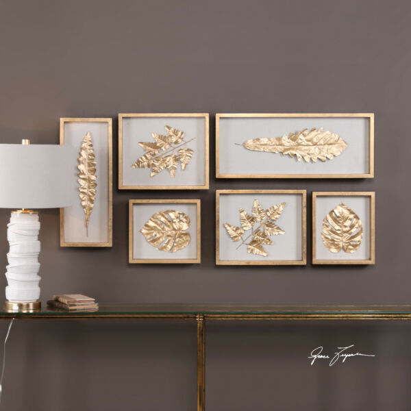 SIX MODERN DESIGNER BEAUTIFUL GOLD LEAF OVERLAY LEAVES SHADOW BOXES WALL ART