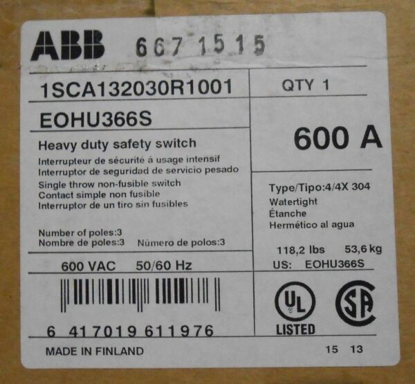 ABB EOHU366S HD SAFETY SWITCH N4X STAINLESS 600 V 600 A 3P - NEW