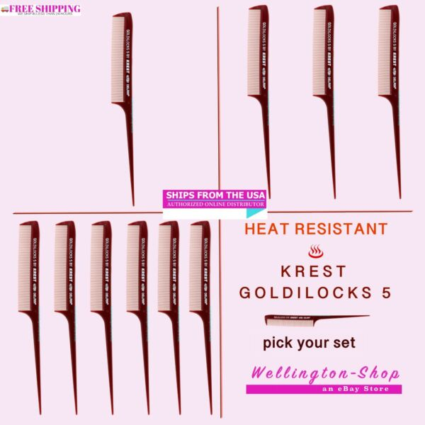 8.5 In. Krest Goldilocks #G5 Heat Resistant Hair Combs. Rattail Comb Fine Tooth $8.99