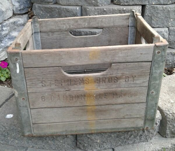 Vintage Wooden Milk Crate Stevens Bros Dairy Carbondale PA Really Good Shape