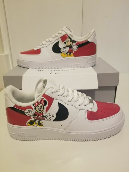 Nike Air Force 1 One AF1 Men Custom Disney Mickey & Minnie Mouse Painted Sneaker