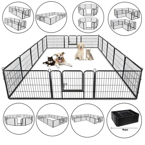 24quot; Heavy Duty Metal Dog Cat Exercise Fence Playpen Kennel 16 Panel Safe For Pet $176.99
