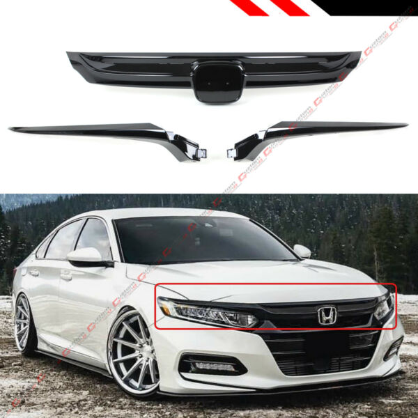 For 2018-2020 10th Gen Honda Accord Sedan Glossy Black Sport Style Front Grille