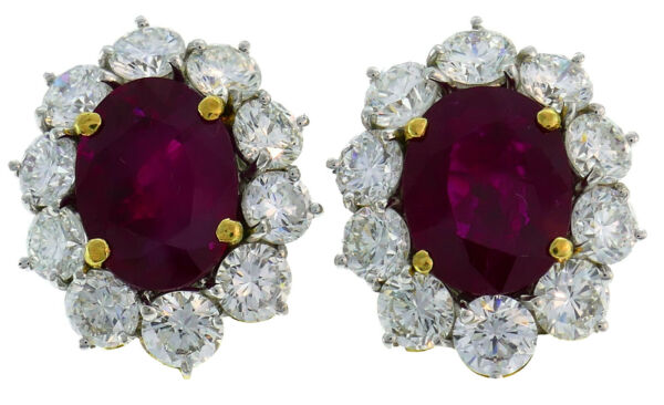 Ruby Diamond Platinum EARRINGS Studs AGL Reports 6.51-ct No Heat and 4.38-ct