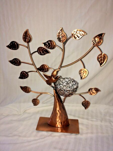 Copper Tone Tree Shaped Bird Nest Jewelry Earring Necklace Holder Stand Display