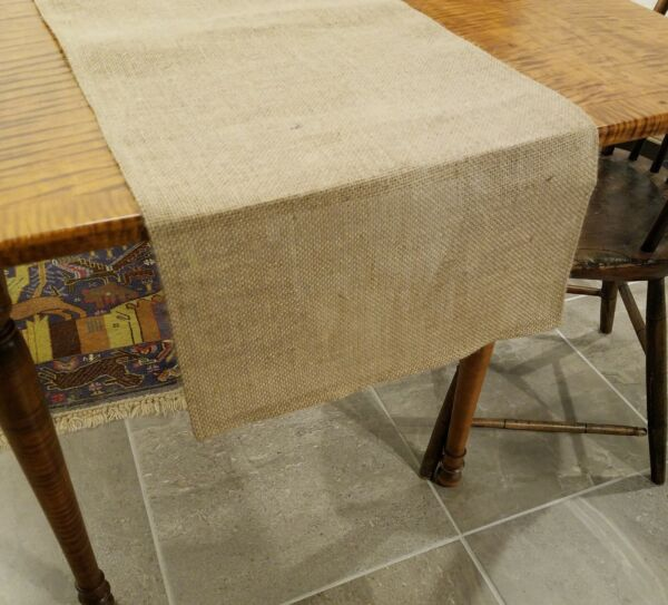 Plain Natural Burlap Table Runner with Folded Edges UNLINED Various Sizes