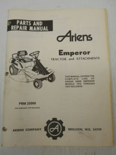 Ariens Parts And Repair Manual For Emperor 25000 Series Tractor And Attachments
