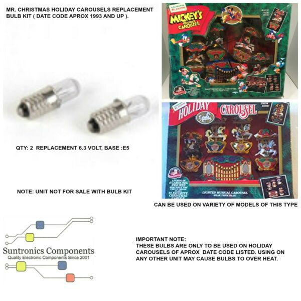 Mr.Christmas Holidays Carousels 1990amp;up replacement part 2 filament bulbs kit.