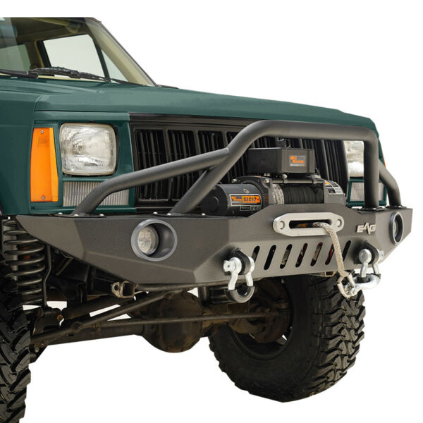 Fit for 1984-2001 Jeep Cherokee XJ Front Bumper W LED Lights & Winch Plate