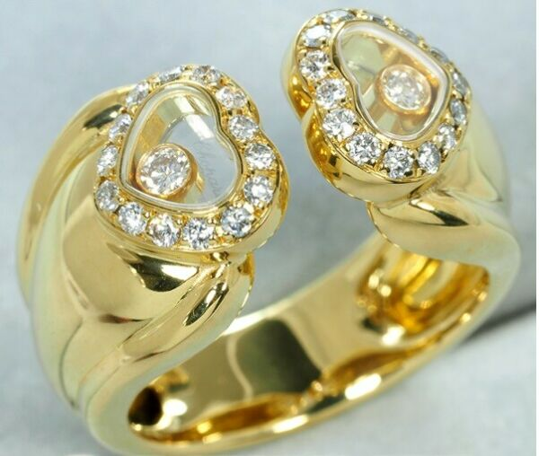 Chopard Happy Diamonds 18K Yellow Gold Double Heart Ring $8600