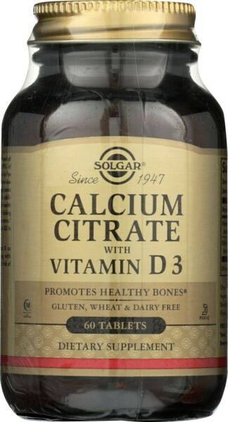 Solgar Calcium Citrate with Vitamin D3 60 Tablets $8.60